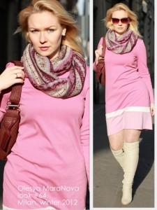 розовое платье, женский лук, лук 2012, сапоги ботфорты